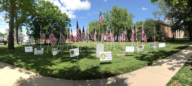 Flags for Hero's in front of the Courthouse